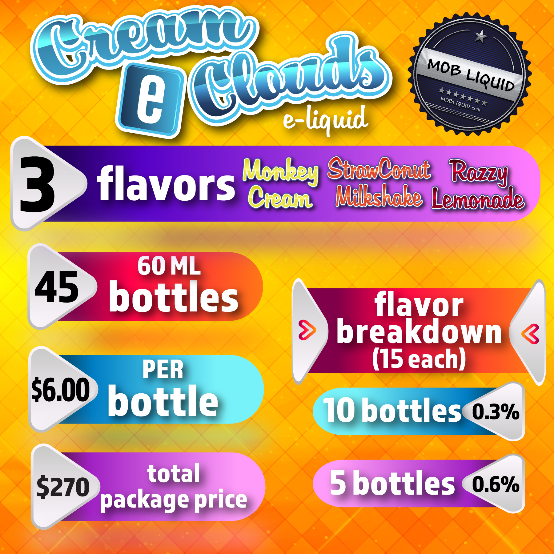Mob Liquid | Packages | 60ml Cream E Clouds
